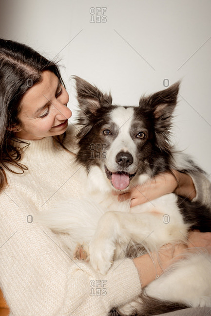 Caring female in woolen sweater hugging funny Border Collie dog while sitting on wooden floor together