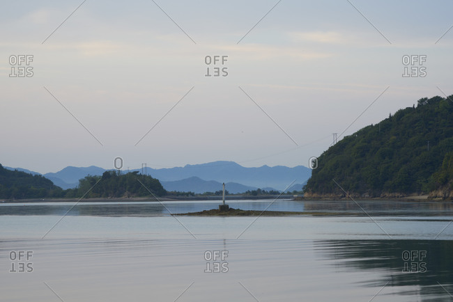 View of the coast of Naoshima Island in Japan