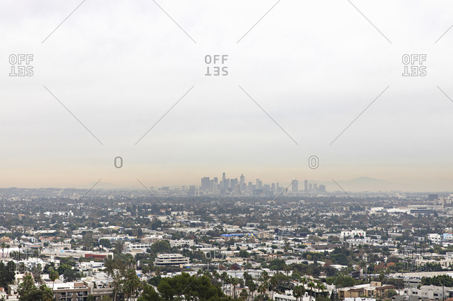 West Hollywood, California - December 3, 2019: View of Los Angeles from West Hollywood on a hazy morning