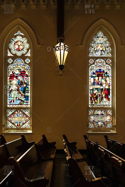 Savannah Georgia - March 7, 2019: Stained glass windows inside St John's Church