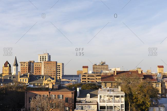 Savannah Georgia - March 7, 2019: View of Savannah, Georgia from the Perry Lane Hotel
