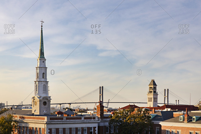 View of Savannah with the Independent Presbyterian Church and the Talmadge Memorial Bridge