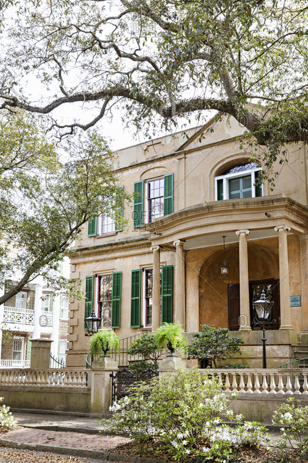 Savannah Georgia - March 7, 2019: Owens-Thomas House & Slave Quarters Museum in Savannah, Georgia