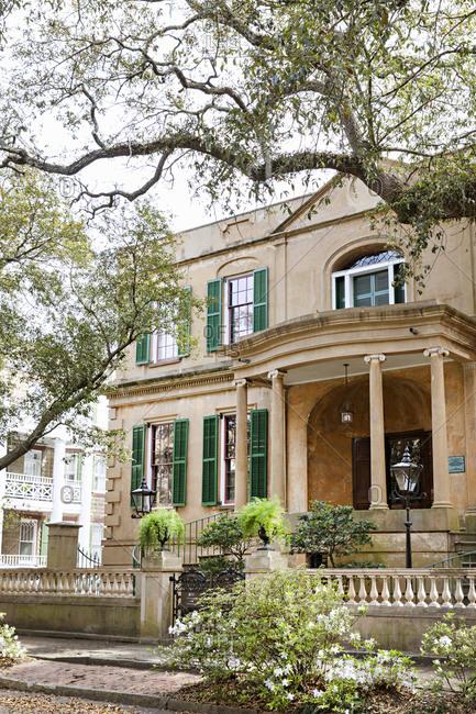 Savannah Georgia - March 7, 2019: Owens-Thomas House & Slave Quarters Museum in Savannah, Georgia