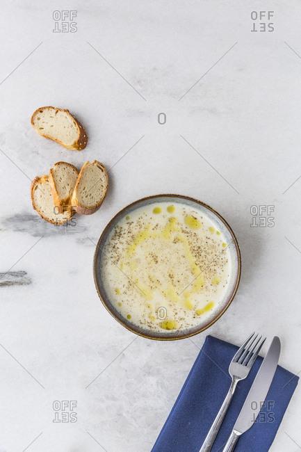 Yogurt soup ready to eat