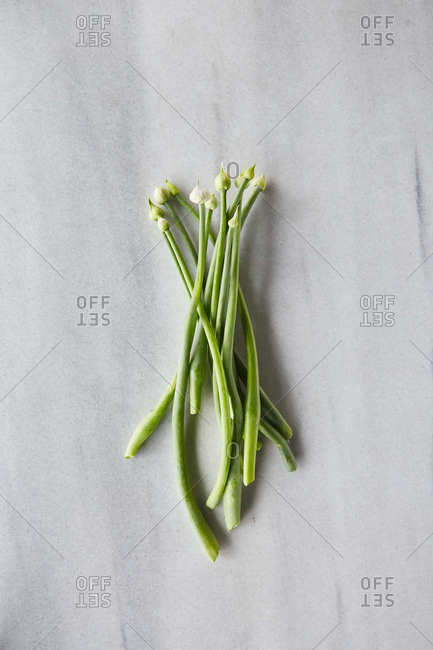 Raw local onions on a marble surface