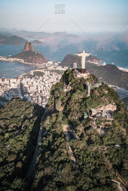 Aerial View Of Christ statue Over Guanabara Bay And Sugarloaf Mountain, Rio De Janeiro, Brazil