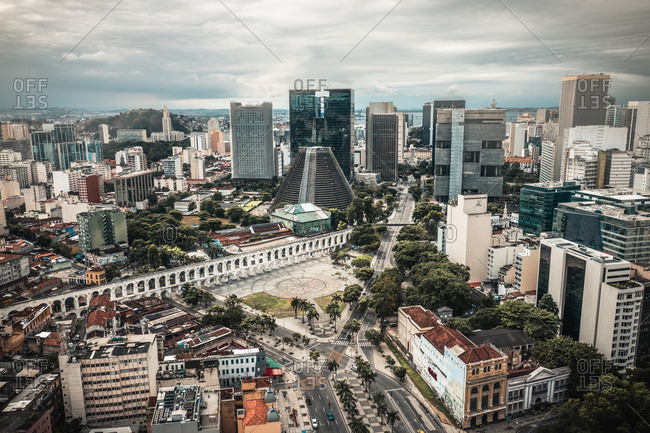 April 12, 2020: Aerial View Of Central Business District, Metropolitan Cathedral And Lapa On Cloudy Day In Rio de Janeiro, Brazil