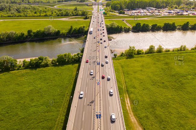 May 8, 2020: Aerial view of cars crossing Jankomirski bridge above Sava river during the day, Zagreb, Croatia.