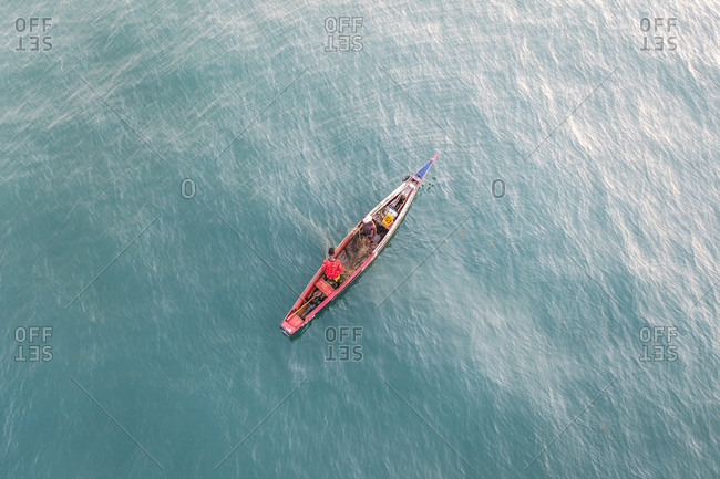 February 26, 2020: Aerial view of people fishing in a boat in Western Rural Area, Sierra Leone