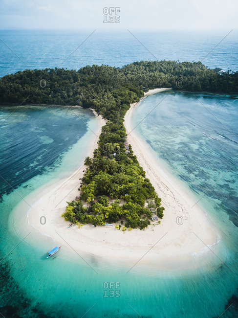 January 14, 2019: Aerial view of Cabgan Islet surrounded by turquoise water in Barobo, Surigao del Sur, Philippines
