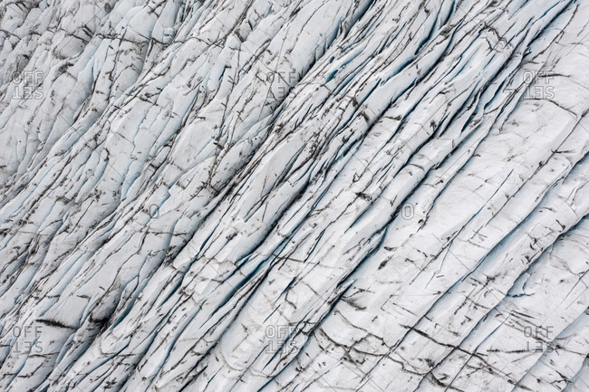 Aerial view of cracks in the glacier at Svinafellsjokull, Iceland