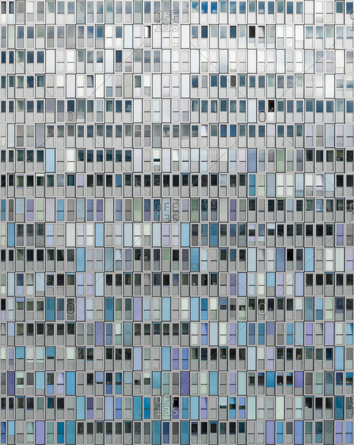 April 5, 2019: Aerial view of the building Shoppi Tivoli with many windows that looks like doors in a huge mosaic, in Spreitenbach, Aargau, Switzerland