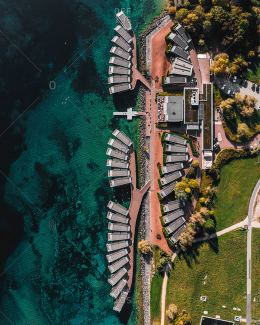 October 26, 2019: Aerial view of the Palafitte hotel, half above the lake, half above the land. Photo taken on Topdown, in Neuchatel Switzerland