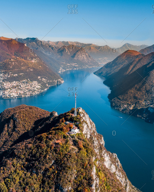 Aerial View of the summit of the mountain Monte San Salvatore, with the region and the lake of Lugano, in Ticino Switzerland