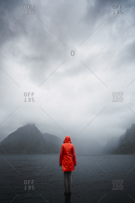 Norway- Lofoten- rear view of man standing on a pole at the coast