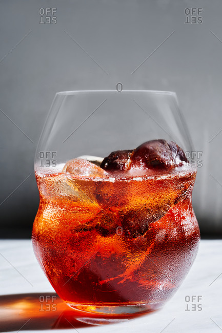 Close up view of chilled classic Italian Negroni cocktail