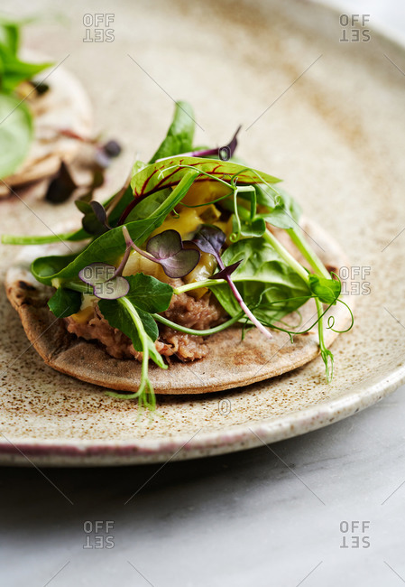 Beautiful appetizer dish of rye flatbread with duck confit, pear, mustard sauce and microgreens