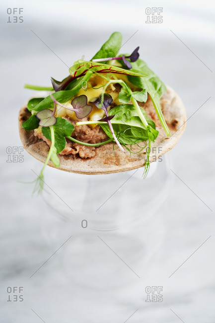 Beautiful hors d'oeuvre of duck pate, pears, mustard sauce and various types of microgreens