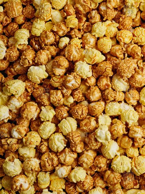 Mixed sweet caramel and savory cheesy popcorn mix