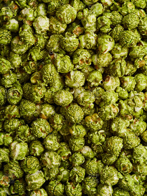 Close up view of green apple flavored popcorn