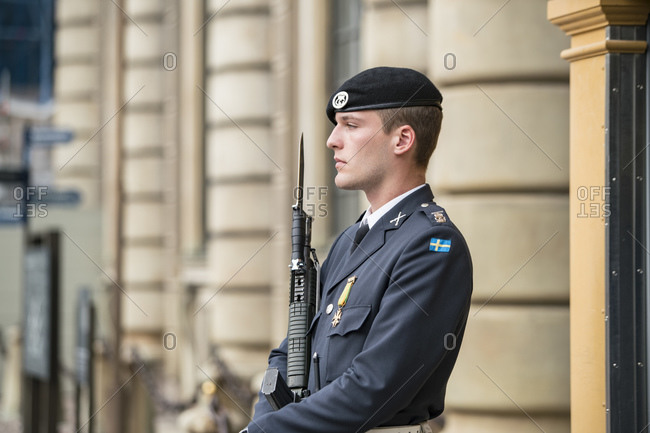 Swedish guards at the court of the royal palace in Stockholm