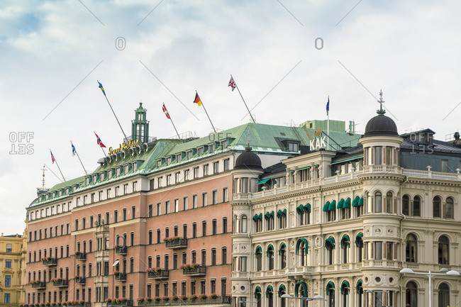 View of luxury Grand hotel in Stockholm center by the royal palace