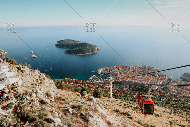 Vantage point of the city of Dubrovnik from cable car