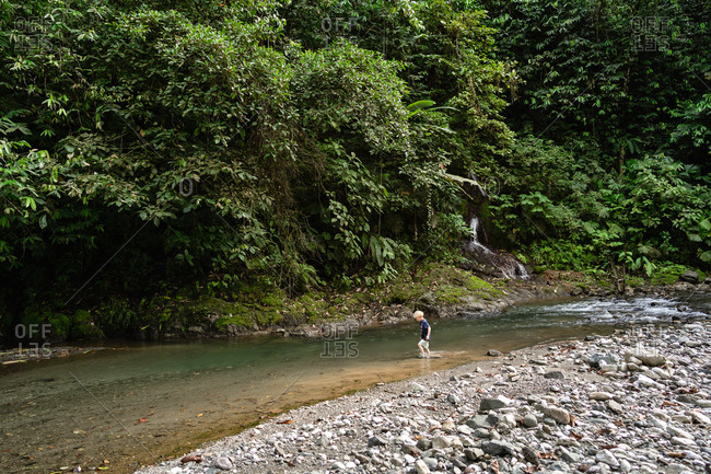 Child walking in river in rain forest of Costa Rica