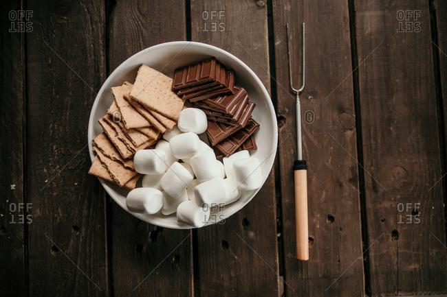 chocolate, marshmallows and graham crackers for making S'mores table