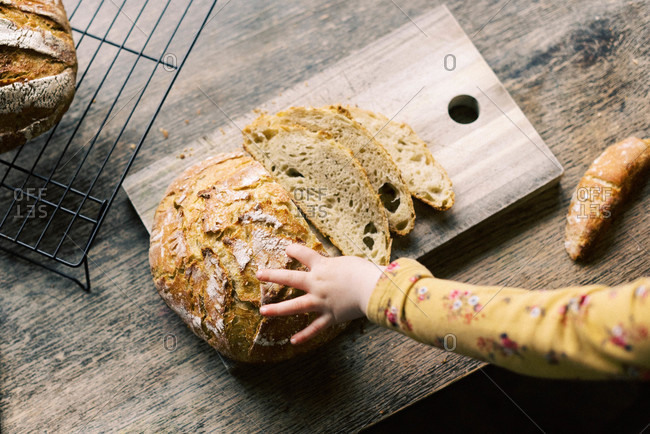 A child grabbing some fresh baked and homemade sourdough bread.