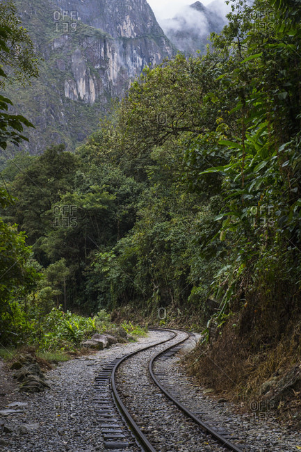 train tracks leading to Aguas Calientes, base for Machu Picchu