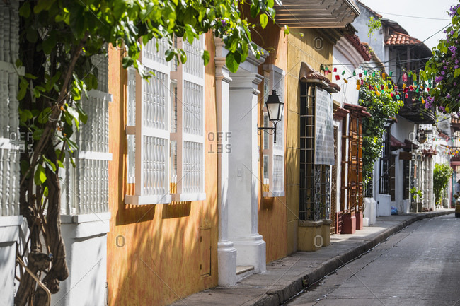 empty street in the old town of Cartagena in Columbia