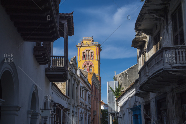 street in the old town of Cartagena in Columbia