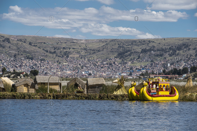 Typical panther boat at the floating islands on the Titicaca lake