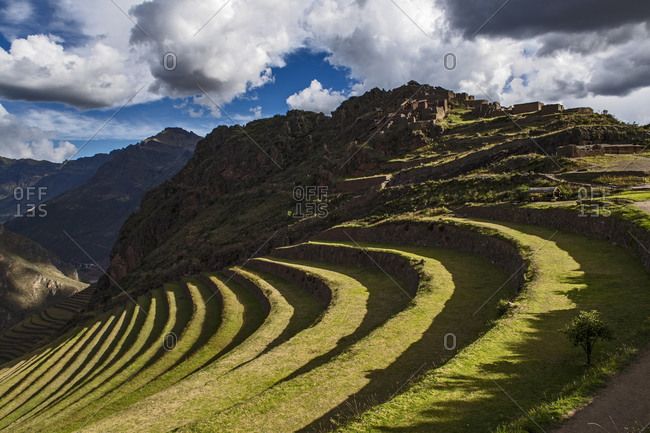 Terraces at Pisac in the sacred valley of the Incas, Peru
