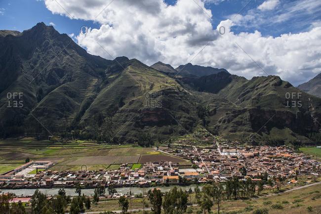 View of village Urubamba at the sacred valley, Peru