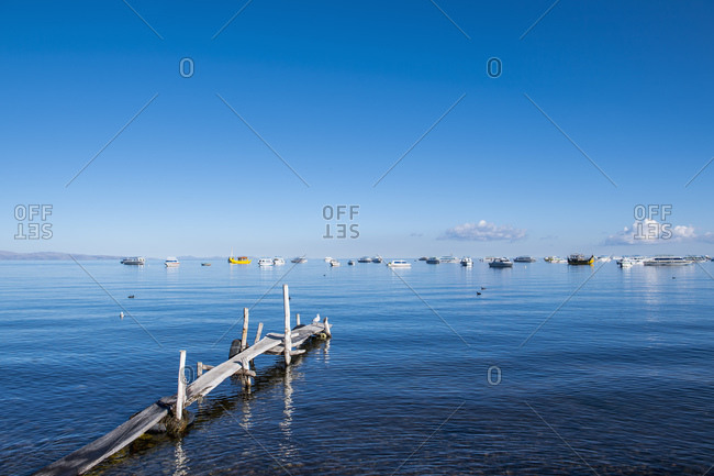 simple wooden pier at Lake Titicaca in Bolivia