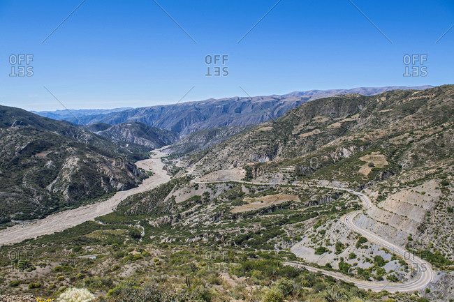 Elevated landscape view of winding road between Potosi and Sucre