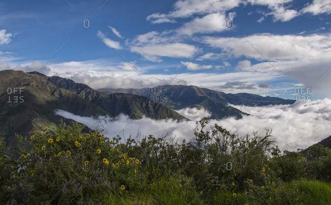 Clouds forming in a valley close to Cotopaxi, Bellavista, Ecuador