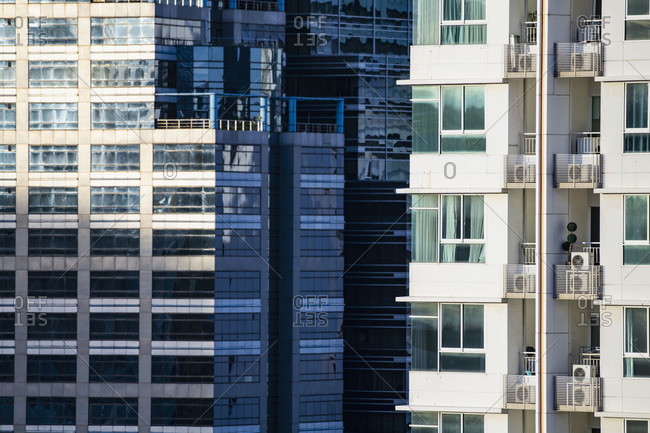 detail of high rise building in the Sathorn area of Bangkok