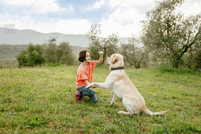 Girl crouching to play with labrador dog in scenic field landscape, Citta della Pieve, Umbria, Italy