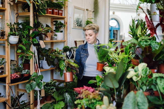 Proud owner with potted plants in plant nursery