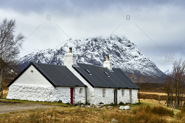 White colored cottages in countryside, Scottish Borders, United Kingdom