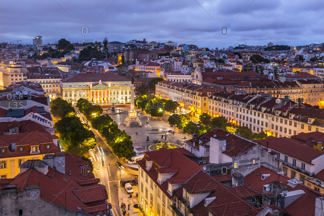 April 13, 2020: Rossio Square at night, Lisbon, Portugal
