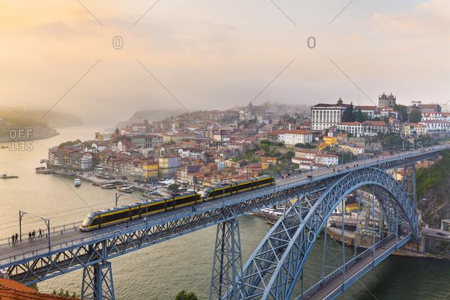 June 6, 2019: Ponte Dom Luis I spanning Douro River, Porto, Portugal