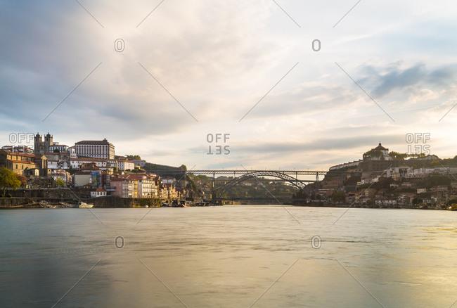 April 13, 2020: Skyline with Porto Cathedral and Douro River, Porto, Portugal