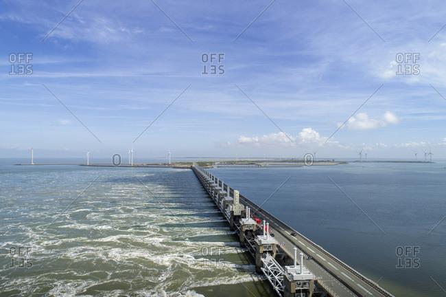 Oosterschelde flood barrier, Vrouwenpolder, Zeeland, Netherlands