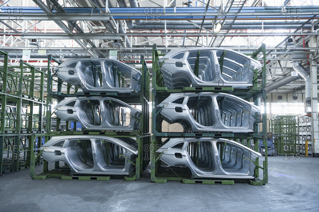 Dressed car parts in car factory