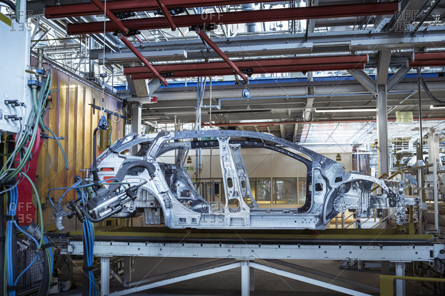 Car body on production line in car factory